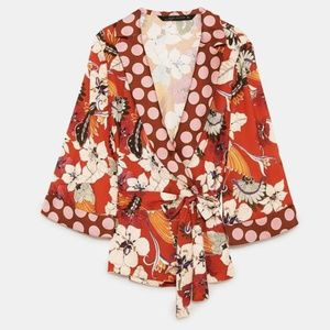 ZARA Wrap Kimono Blouse